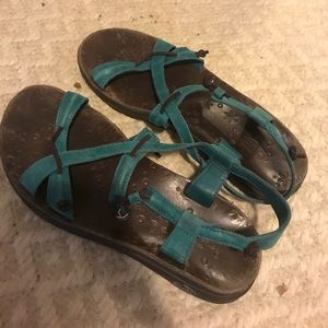 Blue leather chacos sandals women size 7